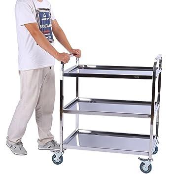 Yosoo Carrito de servicio con 3 bandejas de acero inoxidable 100%, 85 45 cm