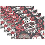 FENNEN Dining Placemats Rose Sugar Skull Table mats Non-Slip Doily Washable TableMats (Set of 6)