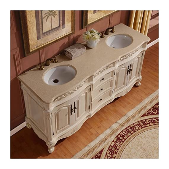 """Silkroad Exclusive Countertop Marble Stone Double Sink Bathroom Vanity with Cabinet, 72"""", Cream - Traditional Bathroom Vanity Double Sink Cabinet with White Oak Finish Item comes with Cream Marfil Marble Stone Top and White Ceramic Sink Material: Natural Stone Top, Solid Wood Structure & CARB Ph2 Certified Panels - bathroom-vanities, bathroom-fixtures-hardware, bathroom - 614f%2BnISh5L. SS570  -"""