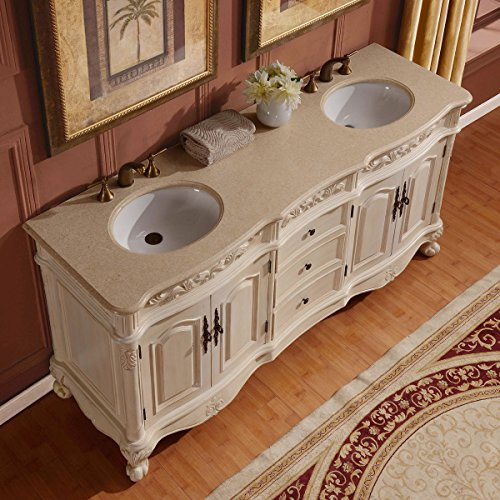 Silkroad Exclusive Countertop Marble Stone Double Sink Bathroom Vanity with Cabinet, 72-Inch by Silkroad Exclusive (Image #1)