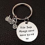 Biker Ride Safe Key Chain, Always Come Home to Me, Handstamp Be Safe Gift