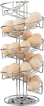 Large Modern Deluxe Egg Storage Dispenser Rack for Countertop Kitchen suonabeier Egg Skelter Spiral Design Metal Egg Rack,Spiral Design Egg Skelter with 2 Egg Cup Holders