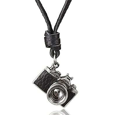 MESE London Photography Necklace Black/ Brown Genuine Leather Photo Camera Pendant - Elegant Gift Box mZNKnkuVgl