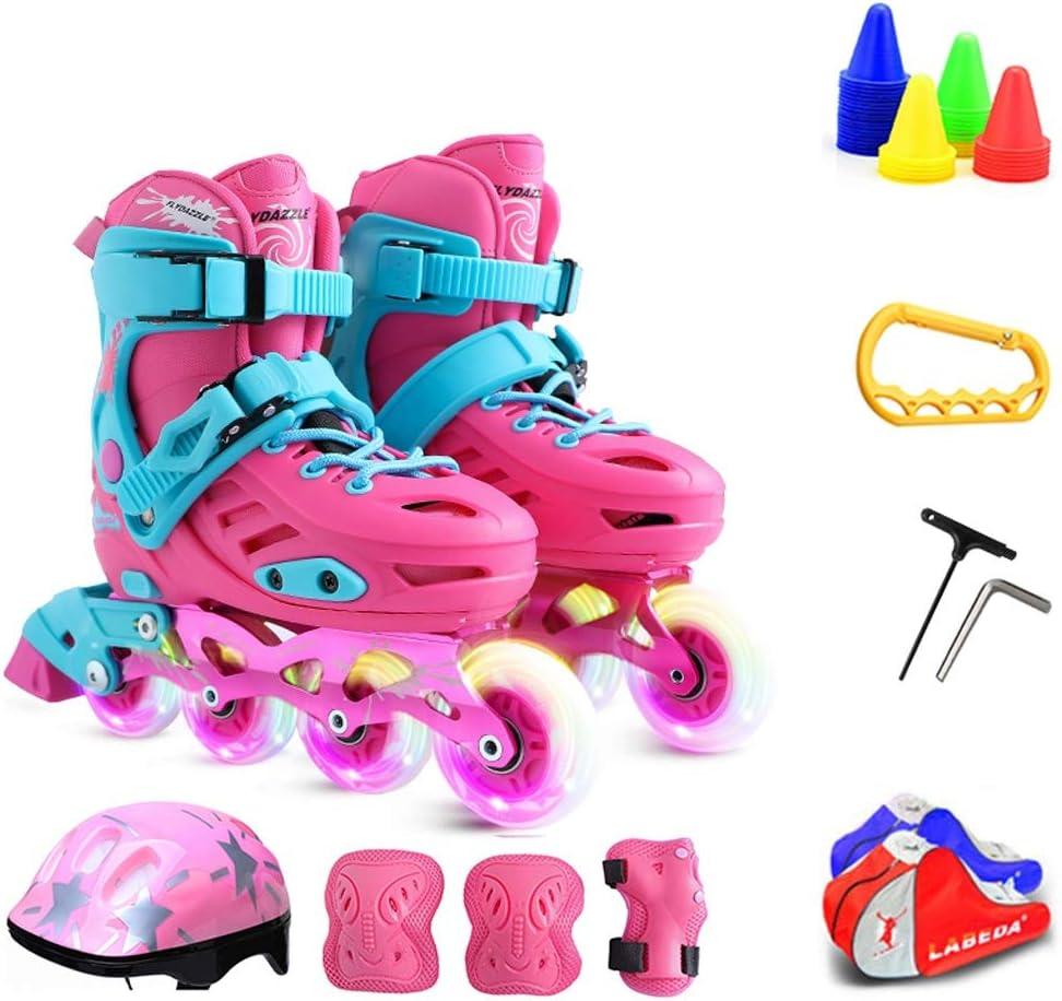 ZHANGHAIMING 子供のためのインラインスケート、男の子と女の子のための調節可能な単列ローラースケート、3-12歳のためのフラッシュスケートのフルセット、ブルーピンク (Color : ピンク, Size : 30)