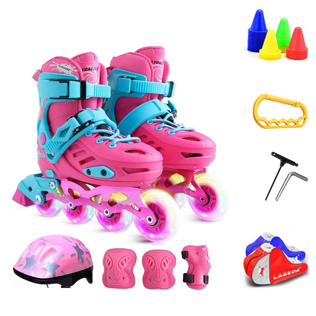 ZHANGHAIMING 子供のためのインラインスケート、男の子と女の子のための調節可能な単列ローラースケート、3-12歳のためのフラッシュスケートのフルセット、ブルーピンク (Color : ピンク, Size : 31)