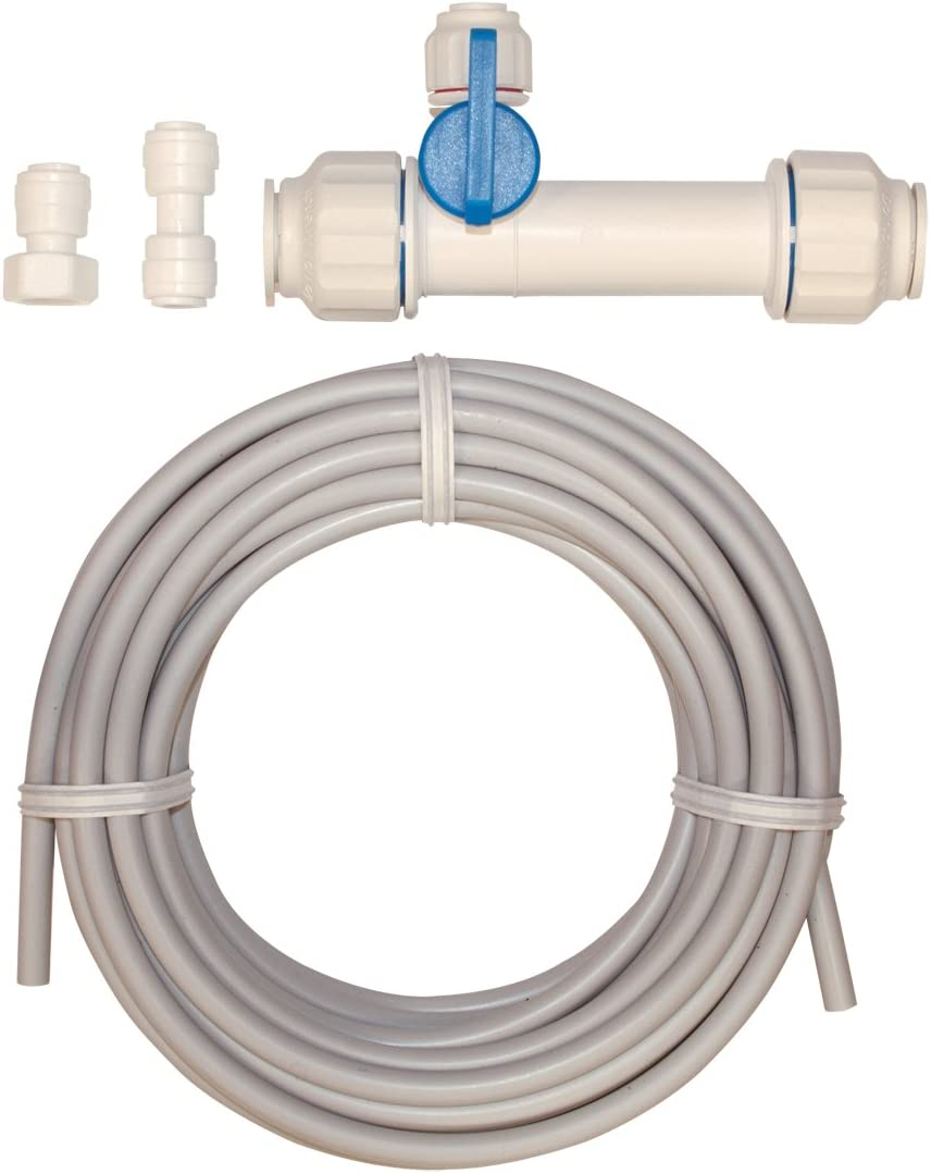 Eastman 60451N Flexible PEX Ice Maker Connector Kit with Valve, 25', White