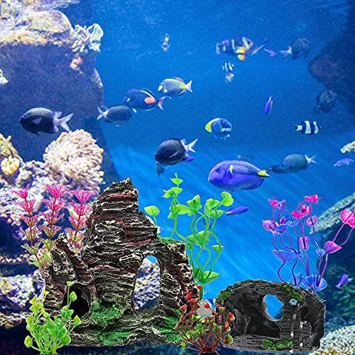 GZHVKJ Aquarium Decorations Fish Tank Decoration Accessories Decor Set, Rocks Plastic Plants Resin Broken Barrel Fish Cave and Hideout Ornaments Small 13 Packs