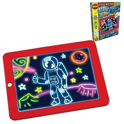Adoudou 3D Magic Dibujo Pad niños portátil Escritura mágica Bloc de Dibujo Glows niños Tablero de la Escritura Pizarra Creativa para Colorear para ...