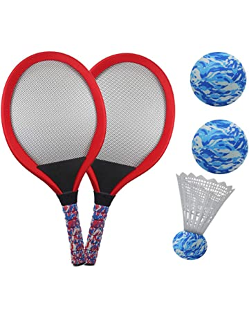 e1f86dcf065 YIMORE Kids Racket Set of 5 with Badminton Tennis Balls Toys Gift for Boys  Girls (