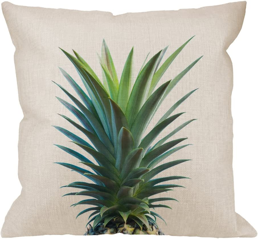 HGOD DESIGNS Pineapple Pillow Cover,Decorative Throw Pillow Pineapple Top Pillow cases Cotton Linen Outdoor Indoor Square Cushion Covers For Home Sofa couch 18x18 inch Green