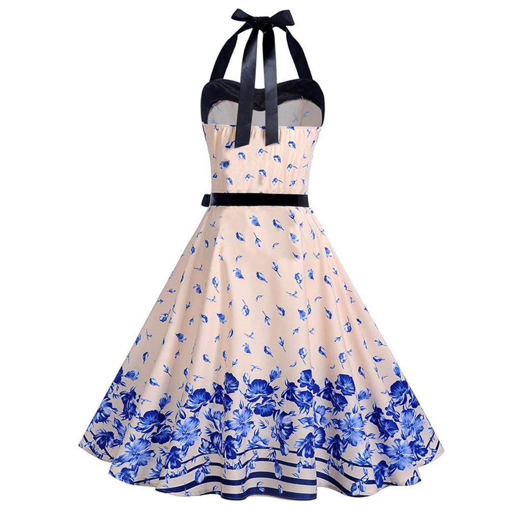 JESPER Women Vintage Printing Bodycon Sleeveless Halter Evening Party Prom Swing Dress
