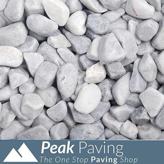 Ágregas Decorativas | Pizarra | Astillas | Gravilla | Piedras | Jardines | 875 kg, Ice Blue Pebbles 20-40mm: Amazon.es: Jardín