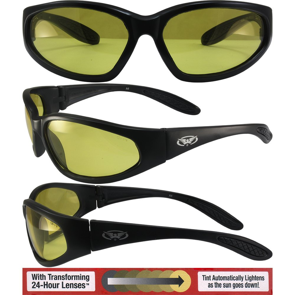 Global Vision Hercules Safety Sunglasses Matte Black Frames with 24 Hour Transforming Photochromic Yellow to Smoke Lenses ANSI Z87.1+