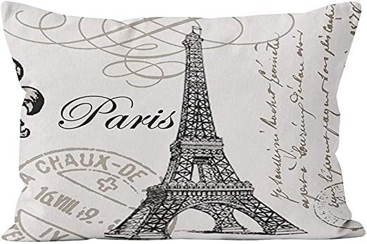 RP Amazing Funda De Cojín,Lumbar Vintage Paris Hidden Zipper Home Decorativo Rectángulo Throw Pillow Cover Funda De Cojín One Side Design Impreso Pillowcase 50X66Cm: Amazon.es: Hogar