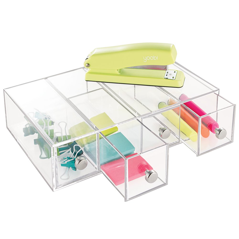 mDesign Office Supplies Desk Organizer for Paper Clips, Sticky Notes, Highlighters, Tape - 4 Drawers, Clear