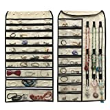 BFOX Hanging Jewelry Organizer,Double Sided 56 Pockets and 9 Hook  Loops for Holding Jewelry (Beige)