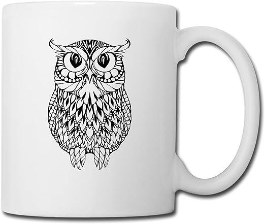 Tatuaje simple trazos búho cerámica café taza de té blanco: Amazon ...