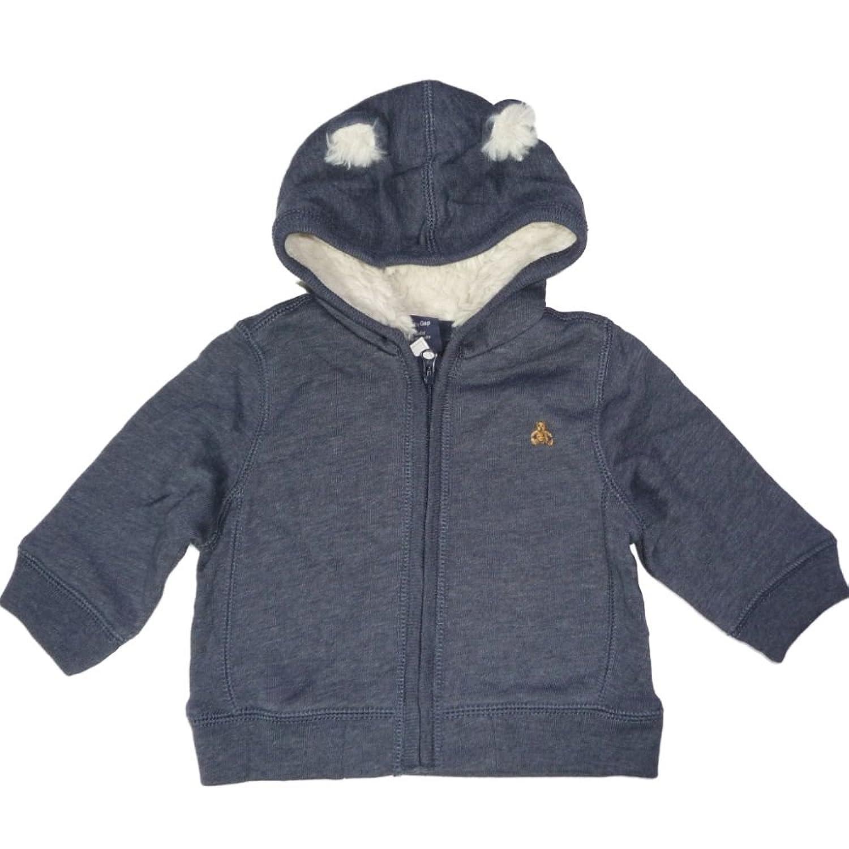 GAP Baby Jungen Teddy Bär Jacke mit Plüsch Fell Ohren blau grau