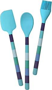 French Bull Cooking Silicone Utensil Set, One Size, Blue Ocean Stripe