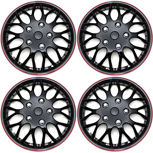 Hubcaps 16 inch Wheel Covers - (Set of 4) Hub Caps for 16in Wheels Rim Cover - Car Accessories Ice Black Hubcap Best for 16inch Cars Standard Steel Rims - Snap On Auto Tire Replacement Exterior Cap