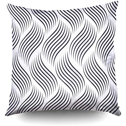 - X'Mas Pattern Geometric Waves Stylish Texture Ripple Decorative Throw Pillow Case 18X18Inch,Home Decoration Pillowcase Zippered Cushion Covers with Words for Book Lover Worm Sofa Couch