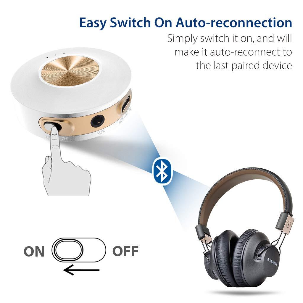 Adattatore Audio Senza Fili 3.5mm per TV//PC Uso Interno ed Esterno Avantree Priva IIA Trasmettitore Bluetooth 4.2 Portatile in Classe 1 RCA Tecnologia aptX a Bassa LATENZA per Due Cuffie