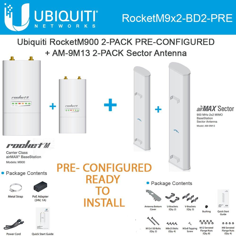 Amazon Ubiquiti RocketM900 2 PACK 900MHz PRE CONF AM 9M13 Airmax Sector Antenna Electronics