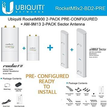 Amazon Ubiquiti RocketM900 2 PACK 900MHz PRE CONF AM 9M13