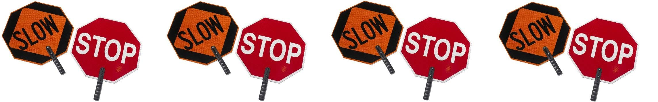 Cortina ABS Plastic Pole Mounted Paddle Sign,''STOP/SLOW'', 03-851, 18'' Sign with 9'' Polygrip Handle, Red on Orange (Pack of 4) by Cortina (Image #1)