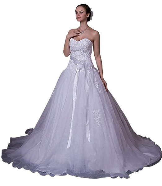 George Bride wunderschoene traegerlosen a de línea Capilla croma vestido de novia con aplicaciones Vestidos de novia Vestidos de Boda: Amazon.es: Ropa y ...