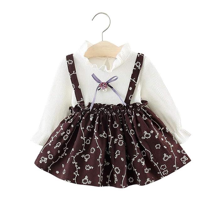 7f2068309c Amlaiworld Vestido niña Recién Nacido Vestidos de Princesa Fiesta bebé niña  Chica Ropa de Manga Larga con Estampado de Flores para niñas bebés   Amazon.es  ...