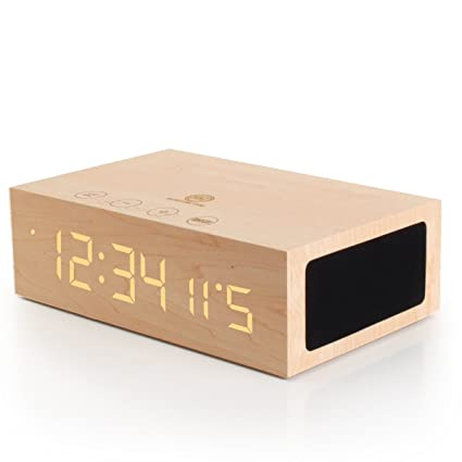 GOgroove TYM Bluetooth Digital Alarm Clock Speaker - Wood Alarm Clock  w/Built in Microphone, LED Time & Date Display, Paired Streaming or AUX for