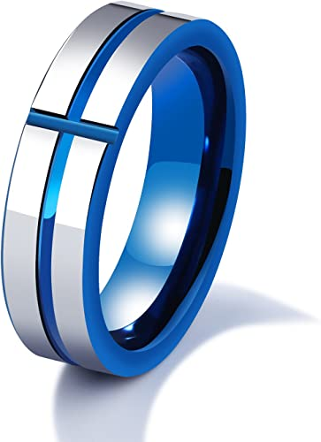 6MM Width Mens Tungsten Carbide Blue Inside Two-Tone Cross Wedding Band Ring