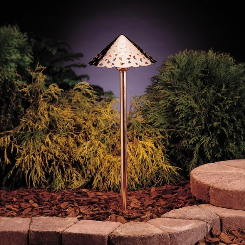 KICHLER 15443CO Cast Hammered Roof 1LT Incandescent/LED Hybrid Low Voltage Landscape Path and Spread Light, Unfinished Copper Finish by