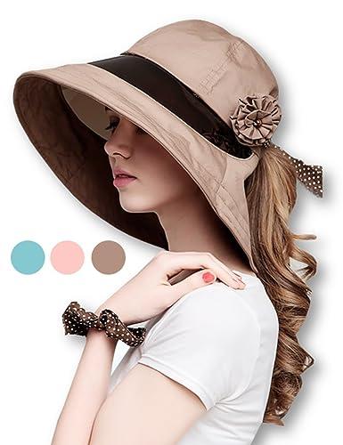 ギグアント(GiGant)お洒落なつば広帽子日よけひさし付きUVカット紫外線防止日焼け防止紫外線カット遮光帽子ハットレディース選べる3色(ライトブラウン)
