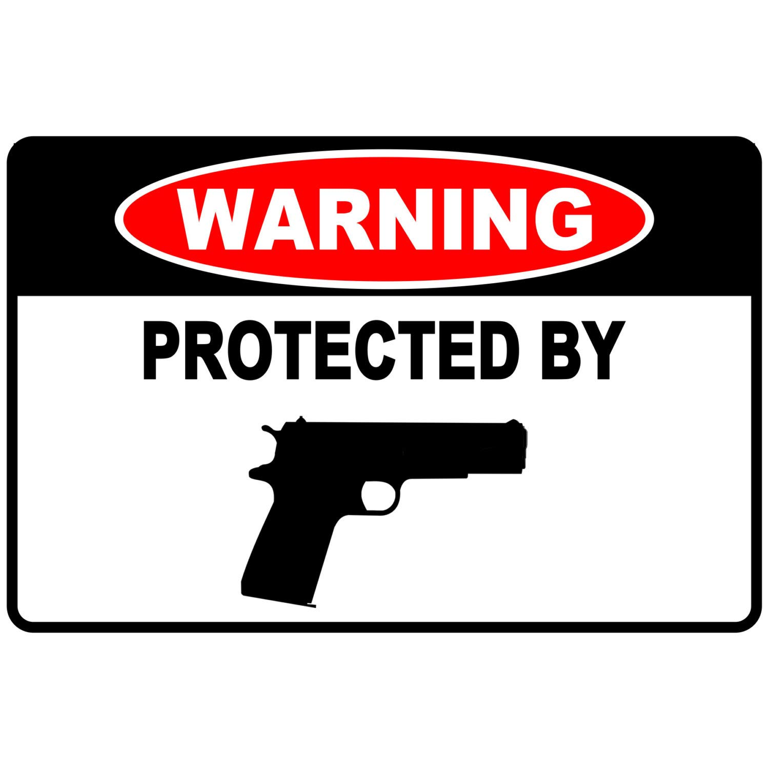 Susie85Electra Warning Protected by Pistol Funny Metal Sign Aluminum Novelty 8 x 12 Sign