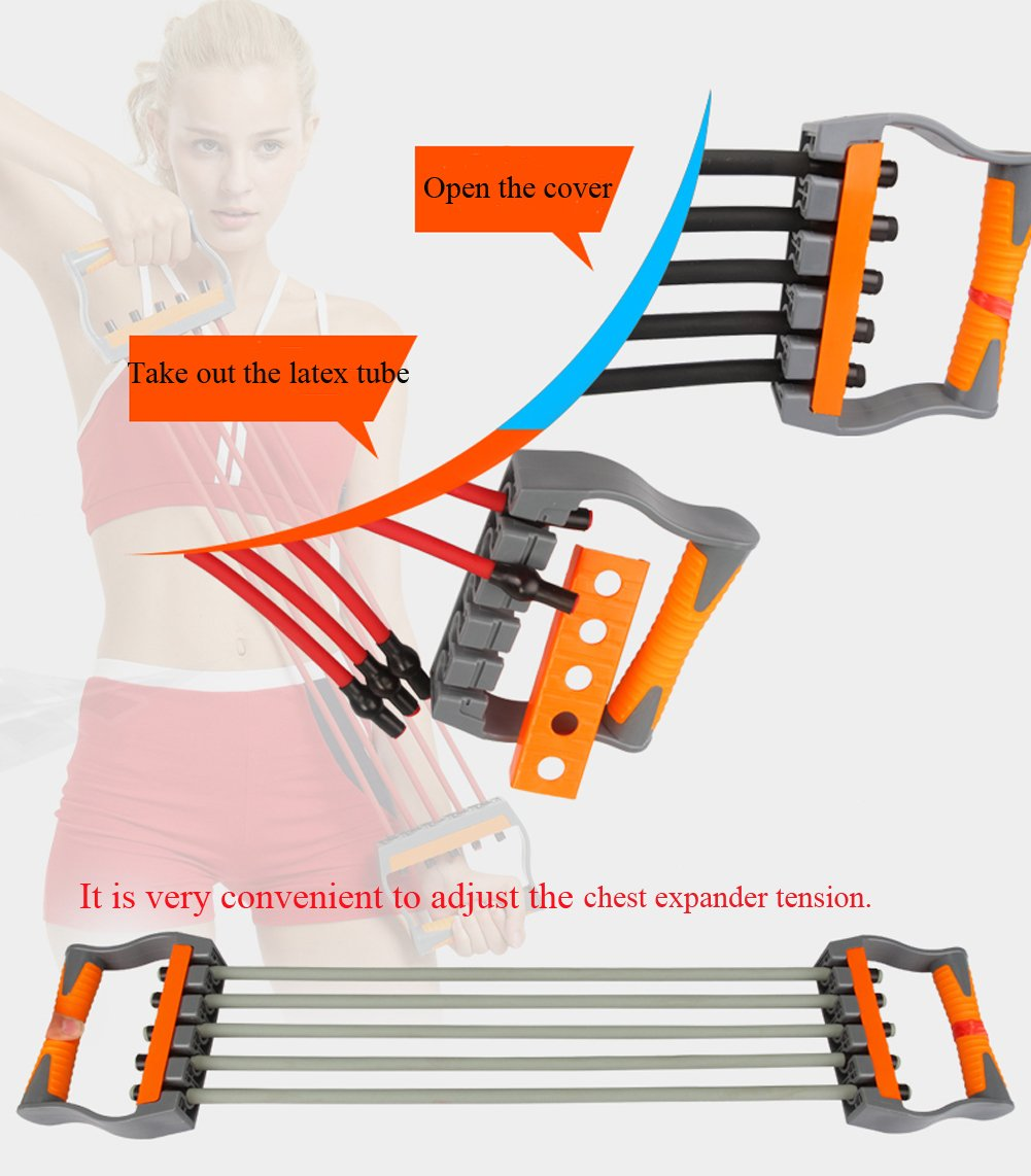 Fitness Andux Zone Adjustable Chest Expander 5 Elastic Ropes Resistance Band Tld-10