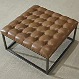 Large Tufted Leather Ottoman Coffee Table Coffee Table Ottoman Modern Button Tufted Leather Chair Footstool