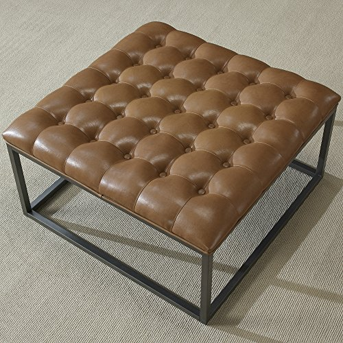 Brown Leather Cocktail - Coffee Table Ottoman Modern Button Tufted Leather Chair Footstool