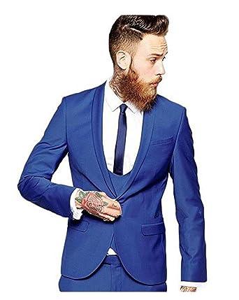 8dd627158fa Yanlu Men s Royal Blue Wedding Suits 3 Pieces Men Suits Groom Tuxedos