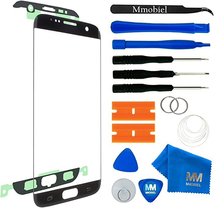 MMOBIEL Front Glass Replacement Compatible with Samsung Galaxy S7 Edge (Black) Display Touchscreen incl Tool Kit