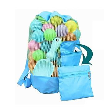gaeruite Bolsa de malla para juguetes, bolsa de almacenamiento de juguetes, mochila para niños, bolsa de playa, bolsa de almacenamiento plegable para ...