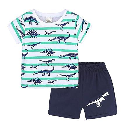 fcd5071d41128 Amazon.com: Daoroka Fashion Boys Dinosaur Pajamas Children Clothes Set  Cotton Little Kids Pjs Sleepwear: Toys & Games