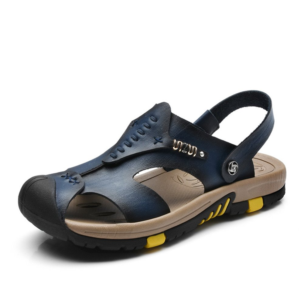 ailishabroy ailshabroy Herren Closed-Toe Klettverschluss Sandalen Mann Leder Outdoor Beach Schuhe  44|Blau