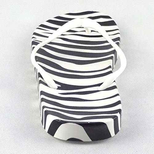 Chfso Kvinna Trendiga Zebra Tryck Rem Sandaler Platta Stranden Flip Flops Svart