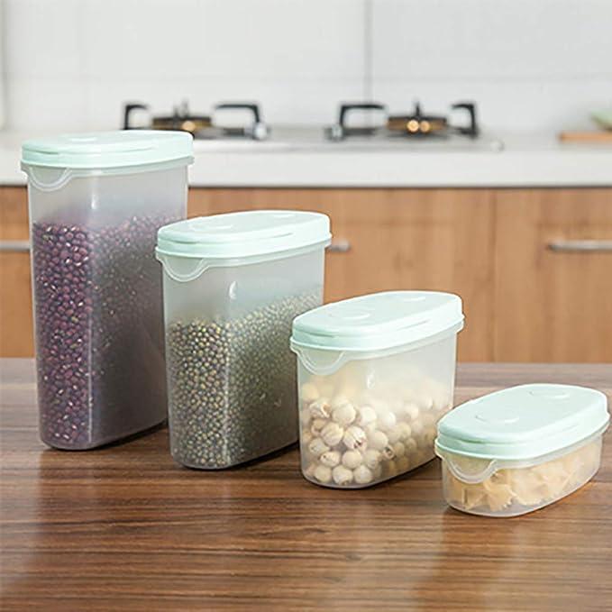 1300 ML de Color Aleatorio BESTONZON Recipiente de Pl/ástico de Almacenamiento de Alimentos Secos para Cereales Granos de arroz Granos Contenedor para Comida con Tapas para Cocina