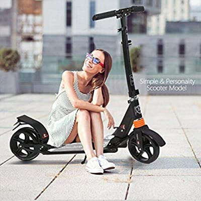 DuncaMontgo Kids/Adult Scooter with 3 Seconds Easy-Folding System, 220lb (Black-Middle) : Sports & Outdoors