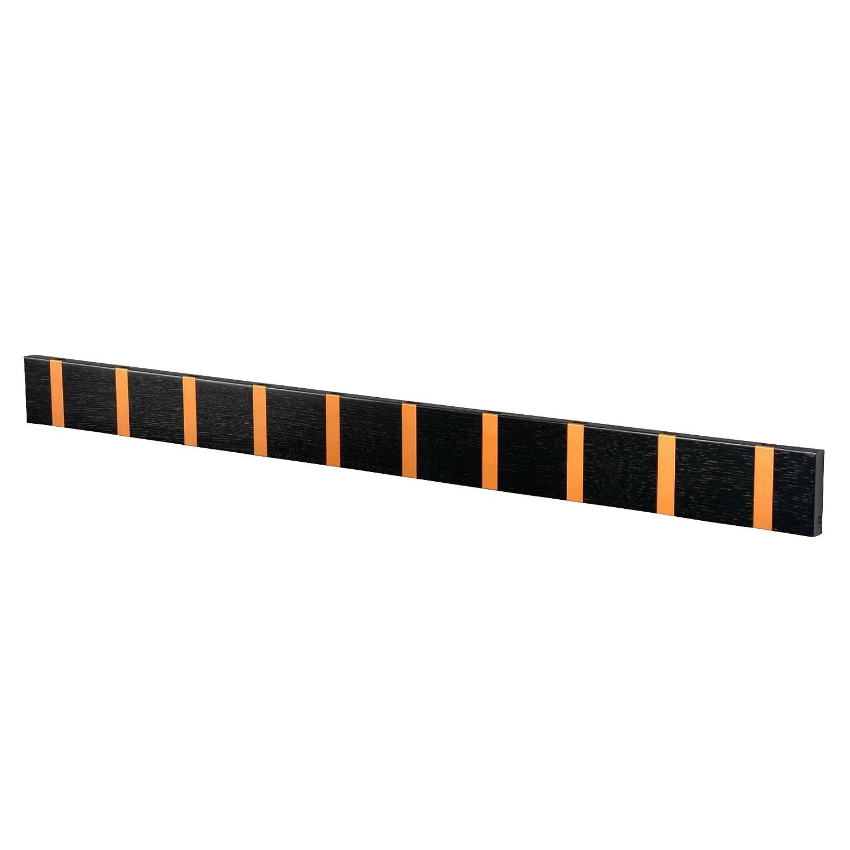Eiche schwarz gebeizt grau L x B LOCA KNAX Wandgarderobe 10 Haken 99 x 8cm