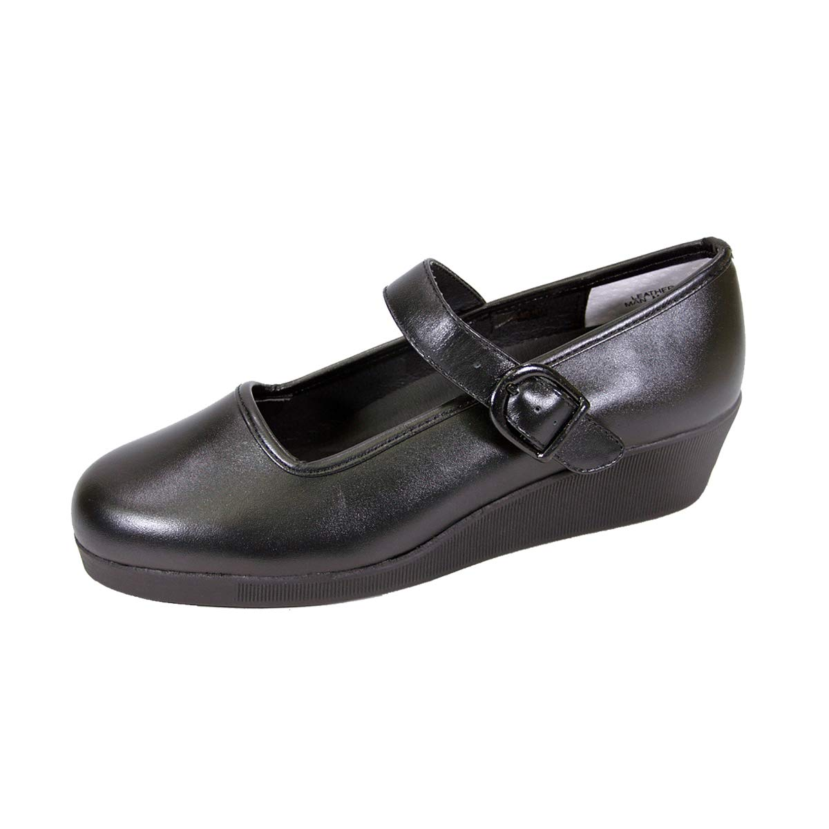 24 Hour Comfort Justine Womens Wide Width Leather Mary Jane Wedge Shoes