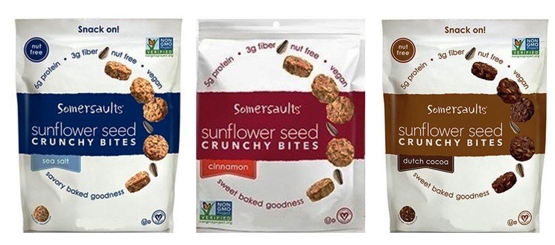 Somersaults Nut Free Vegan Sunflower Seed Snacks 3 Flavor Variety Bundle: (1) Pacific Sea Salt, (1) Dutch Cocoa, and (1) Cinnamon, 6 Oz. Ea. (3 Bags Total)